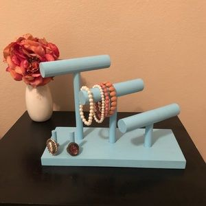 Sky Blue Wooden Jewelry Stand